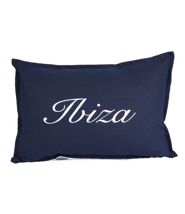 Throw Pillow 35x50 cm - Navy linen - Ibiza
