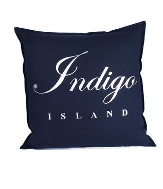 Throw Pillow 60x60 cm - Navy linen- Indigo Island