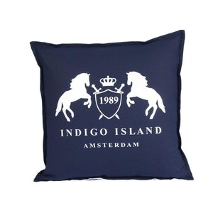 Throw Pillow 45x45 cm - Navy linen - Indigo Signature