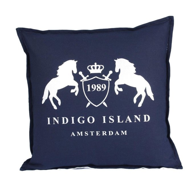 Throw Pillow 45x45 cm - Navy linen - Indigo Signature