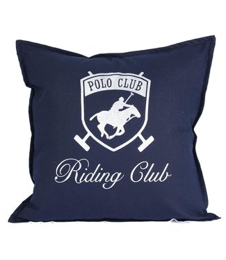 Throw Pillow 45x45 cm - Navy linen  - Riding Club