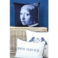 Throw Pillow 60x60 cm  - Vermeer delftsblue - Girl with the pearl