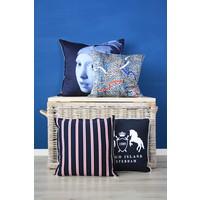 Throw Pillow 45x45 cm  - Tassels and belts - Layton leopard- Blue