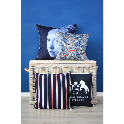 Sierkussen 45x45 cm  - Paarden riemen en bitten - Layton luipaard - Blauw