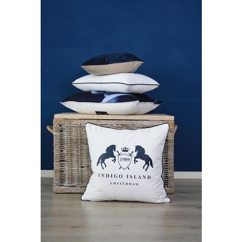 Sierkussen 45x45 cm  -  indigo velvet - blauw