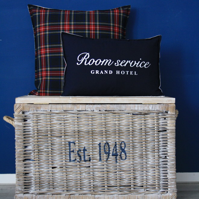 Throw Pillow 40x60 cm - Navy linen  - exclusive with silver - Room service grand hotel
