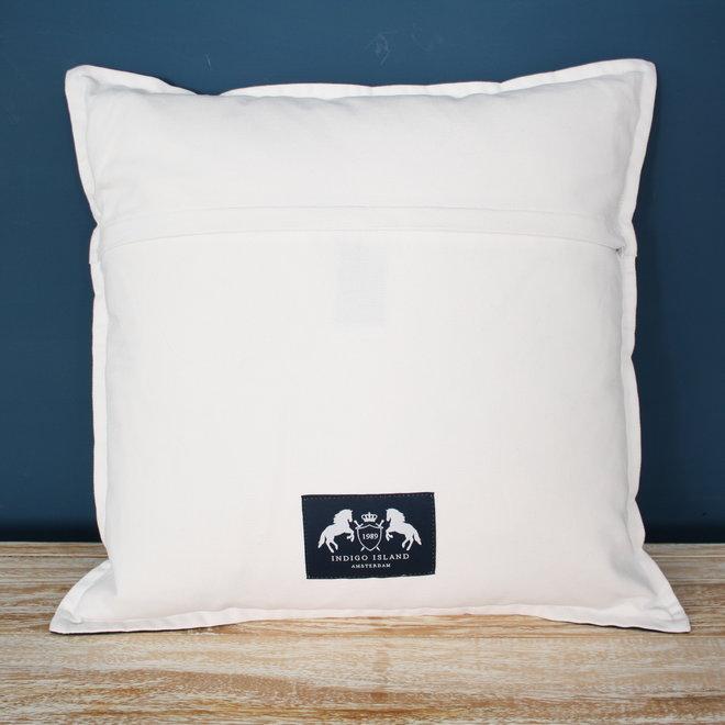 Throw Pillow 45x45 cm - Navy linen - exclusive with silver - Indigo Signature