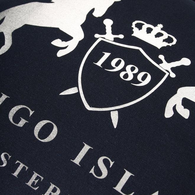 Sierkussen 45x45 cm  - Navy linnen- exclusief met zilver -Indigo Signature