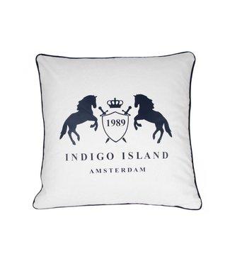 Throw Pillow 60x60 cm - Maritime - Indigo signature crest & horses