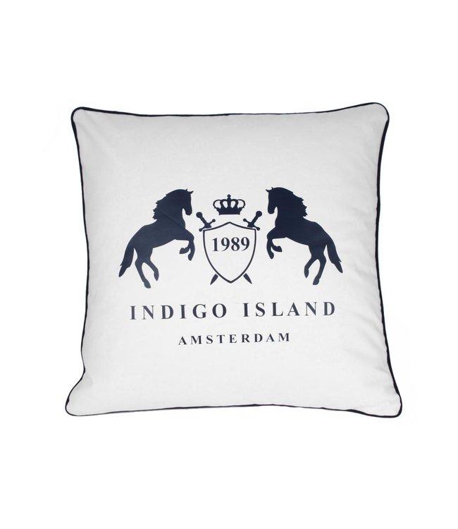 Sierkussen 60x60 cm  - Maritime - Indigo signature crest & horses
