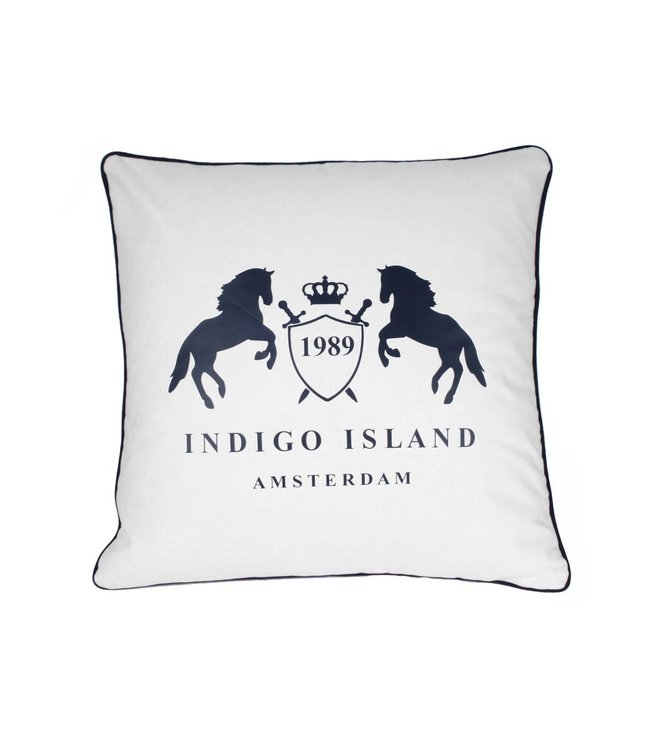 Throw Pillow 60x60 cm - Maritime - Indigo signature crest & horses