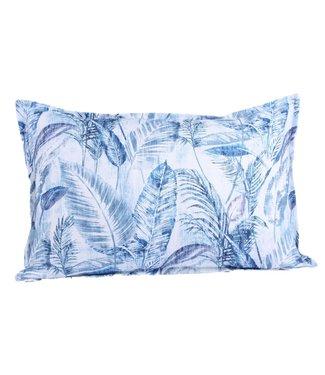 Throw Pillow 40x60cm  - Ibiza jungle leaves - blue