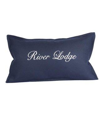 Throw Pillow 35x50 cm - Navy linen - River Lodge