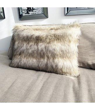 Sierkussen 40x60 cm - Imitatie bond - Wolf - Beige/ creme