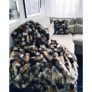 Imitatiebont plaid - Indigo Island Amsterdam - Faux Fur - Gold & copper