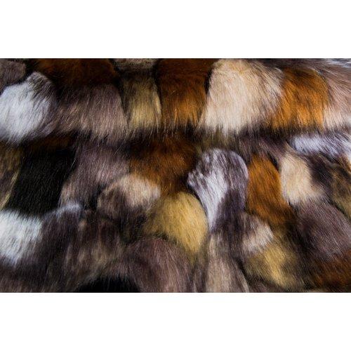 Imitatiebont plaid - Indigo Island Amsterdam - Faux Fur - Gold & copper