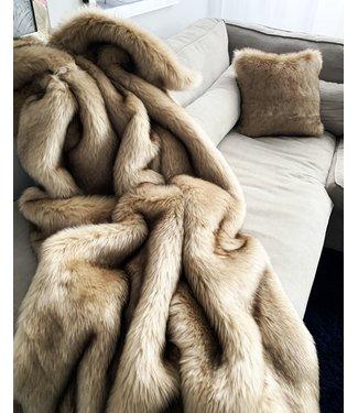 Imitatiebont plaid - 200x140 cm - Indigo Island Amsterdam - Faux Fur - Siberian Beige/Gold