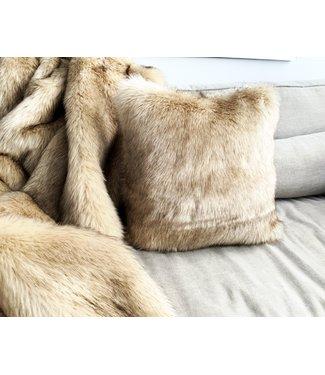 Set imitatiebont plaid & Sierkussen - Faux Fur - Siberian Beige/Gold