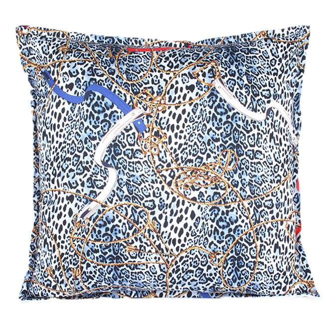 Sierkussen 45x45 cm  - Layton luipaard - Blauw