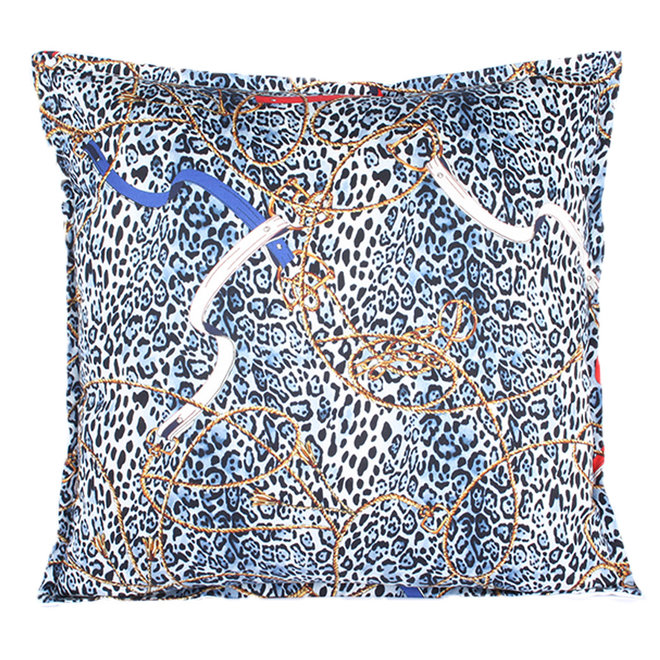 Throw Pillow 45x45 cm  - Layton leopard - Blue