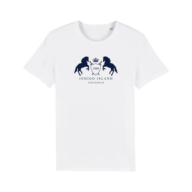 T-shirt Indigo Embleem - Navy flock - White