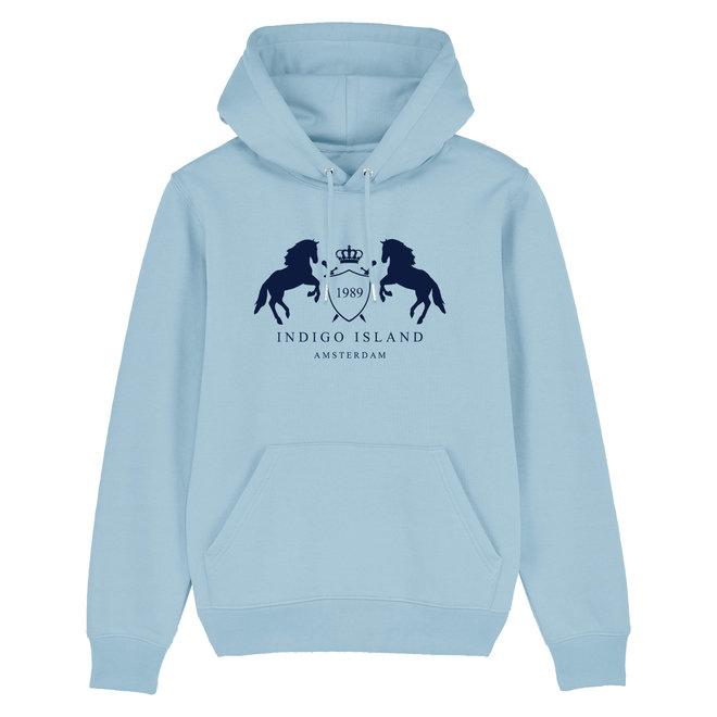 Premium Hoodie -Indigo embleem - baby Blue
