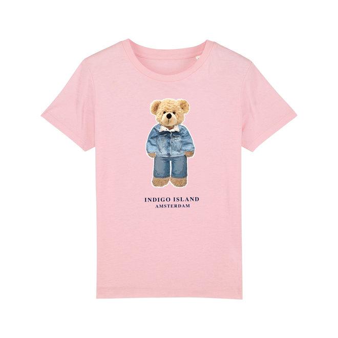 KIDS  Premium  TEE- T'shirt -Navy - Signature teddy Denim- Cotton Pink