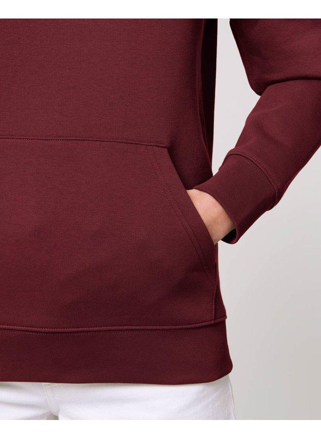 Premium Hoodie -  Signature teddy Denim  - Burgundy Red