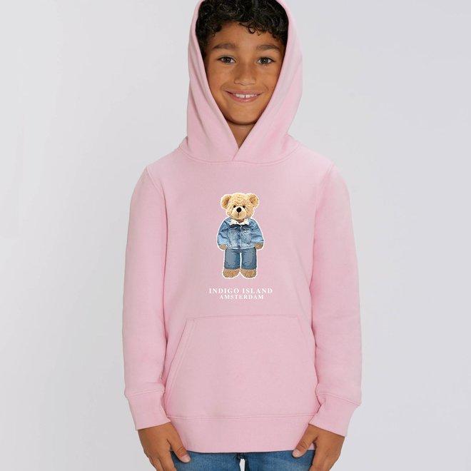 KIDS  Premium Hoodie -Signature Teddy Denim - Cotton Pink