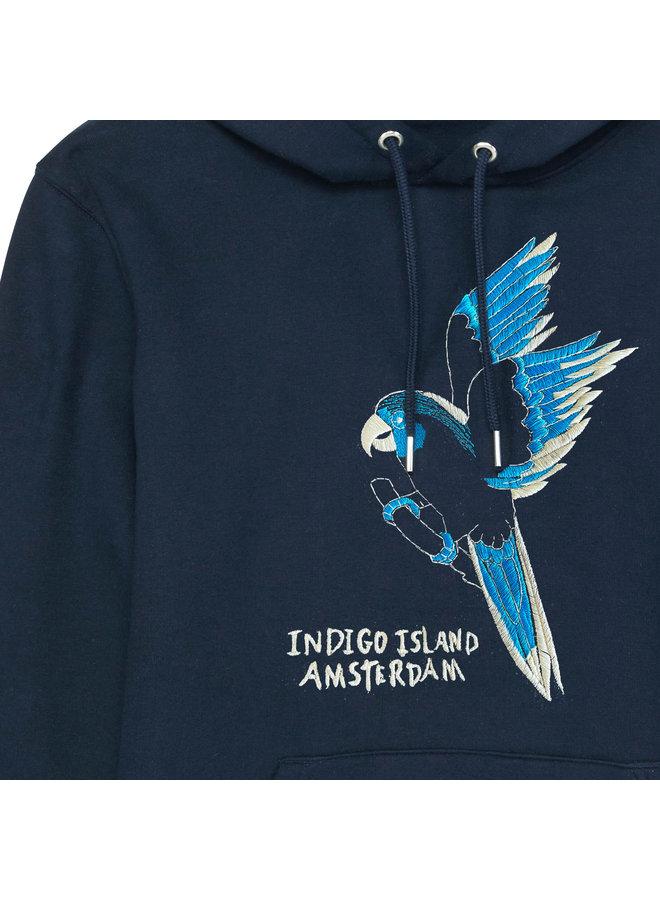 Premium embroidered Hoodie -  Indigo Paradise Bird - Navy