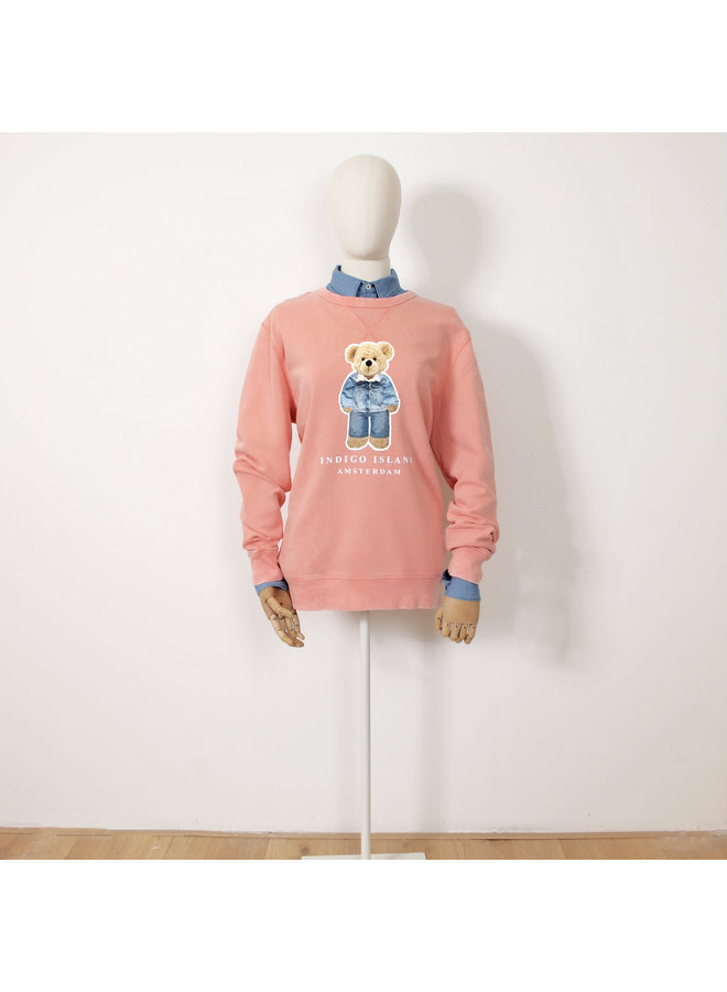 Vintage dyed  Sweater - Premium Pullover-  Signature Teddy Denim - Old pink Vintage dyed Rose Clay