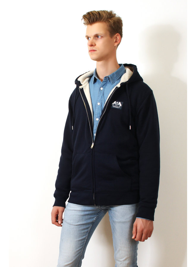 Premium Hoodie met rits - Gevoerd met Sherpa wol - Indigo Blauw