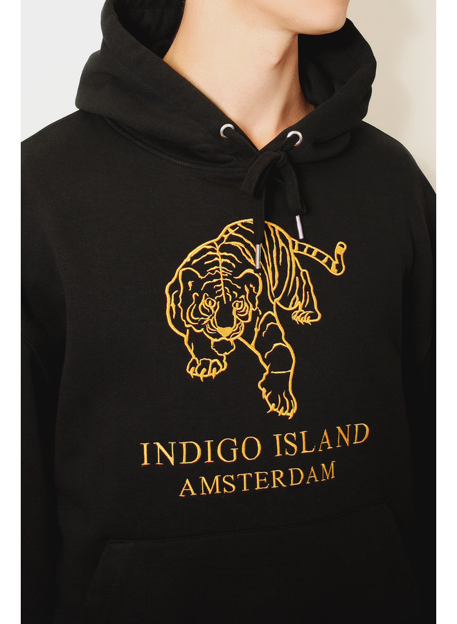 Heavy Oversized Sweater - Premium embroidered Hoodie - Black and Gold - Tiger