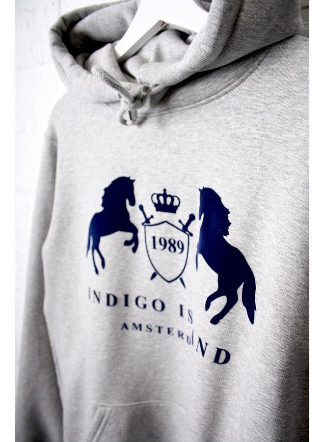 Premium Hoodie -Indigo Signature Embleem - Heather grey