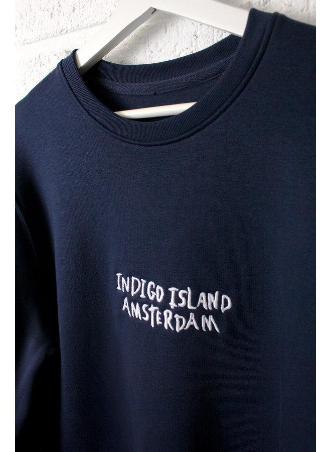 Sweater - Premium Pullover-  Indigo Island Amsterdam embroidery -Navy