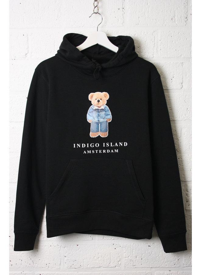 ESSENTIAL Hoodie - Signature Teddybear in denim outfit - Black