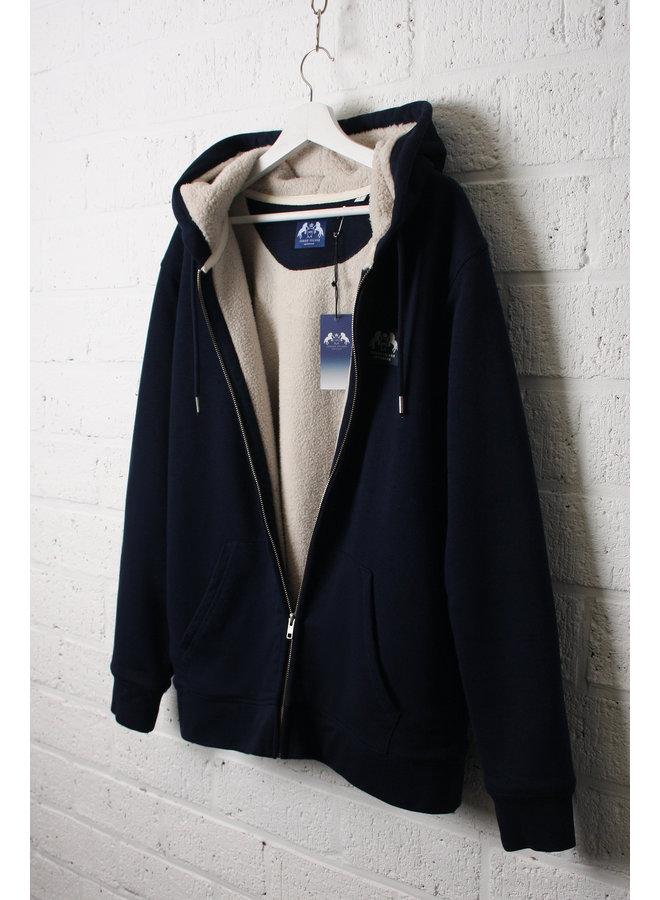 Premium Zipped Hoodie - Lined with Sherpa Wool - Indigo Blue
