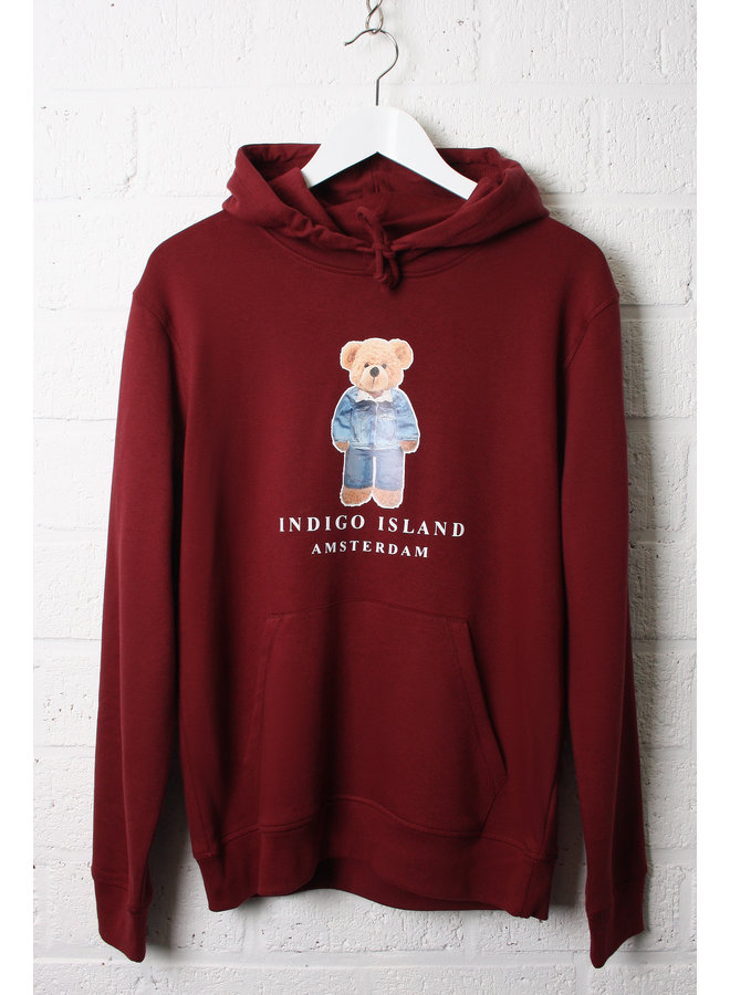 ESSENTIAL Hoodie - Signature Teddybear in denim outfit - Burgundy