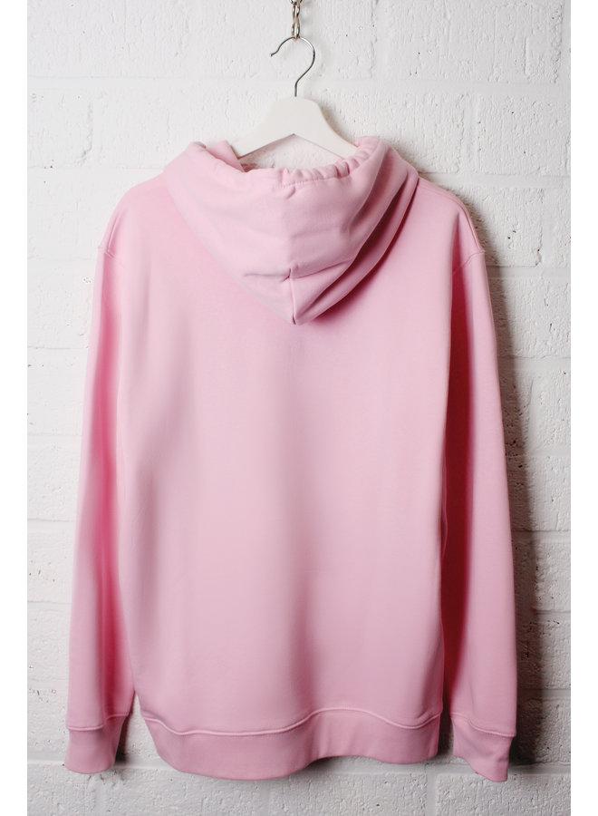 Premium Hoodie -Signature teddy denim - Cotton pink