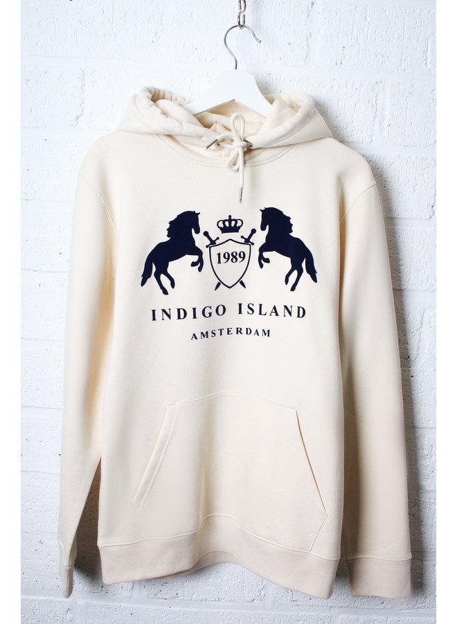 Premium Hoodie -Signature Indigo Embleem -Natural Raw