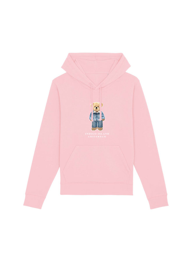 ESSENTIAL Hoodie - Signature Teddybear in denim outfit - Cotton Pink