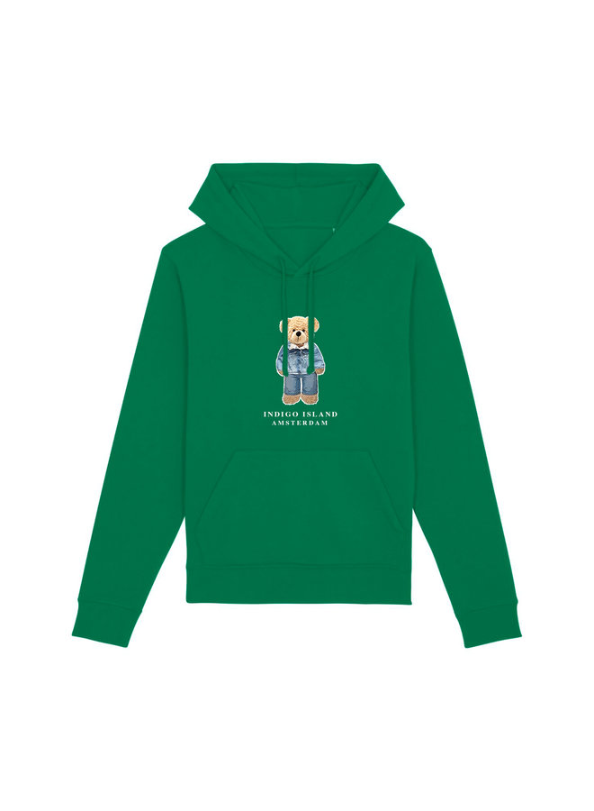 ESSENTIAL Hoodie - Signature Teddybear in denim outfit - Varsity Green