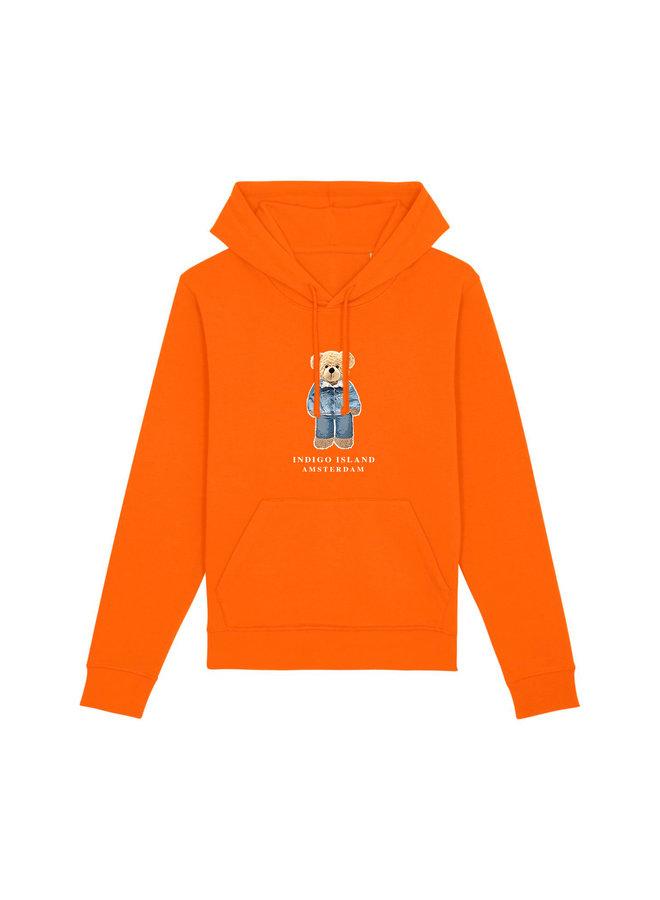 ESSENTIAL Hoodie - Signature Teddybear in denim outfit - Orange