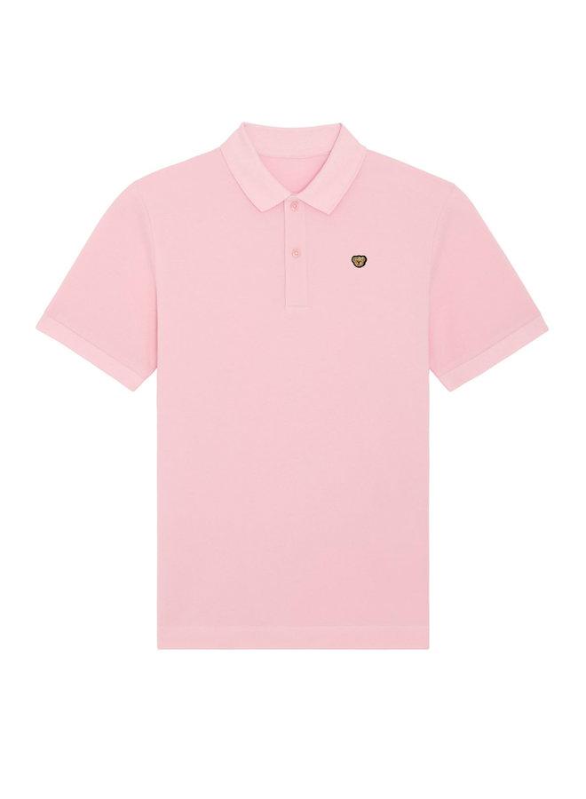 UNISEX POLO- Signature Teddybear embroidery -Cotton Pink