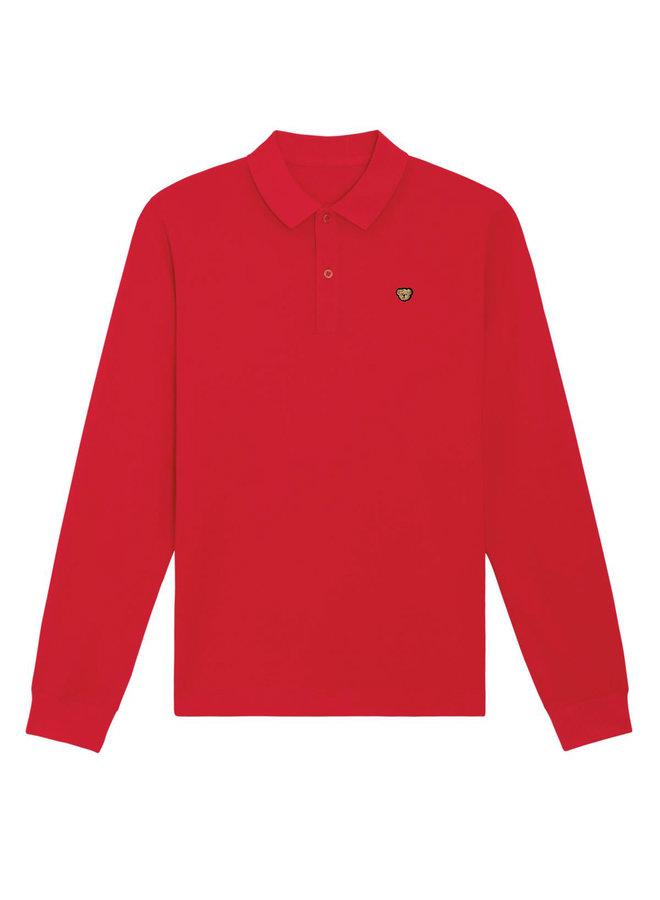 UNISEX POLO- Long sleeve - Signature Teddybear embroidery -Red