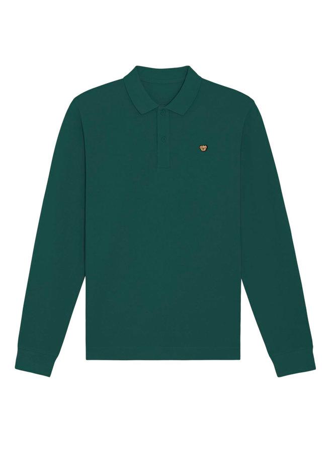 UNISEX POLO- Long sleeve - Signature Teddybear embroidery -Glazed Green