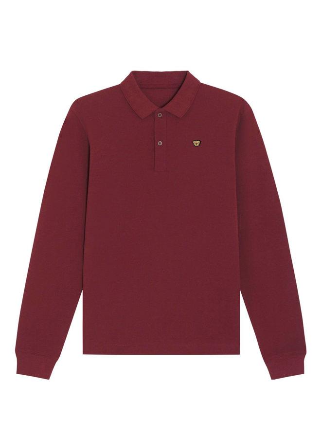 UNISEX POLO- Long sleeve - Signature Teddybear embroidery -Burgundy