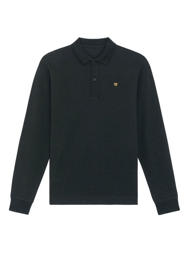 UNISEX POLO- Long sleeve - Signature Teddybear embroidery -Black