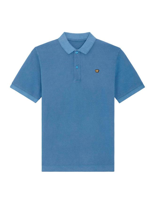 UNISEX POLO - Signature Teddybear embroidery -Vintage dye Cadet blue