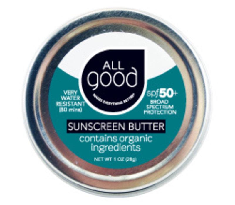 All Good SPF 50+ Water Resistant Zinc Sunscreen Butter Tin, 1 oz.
